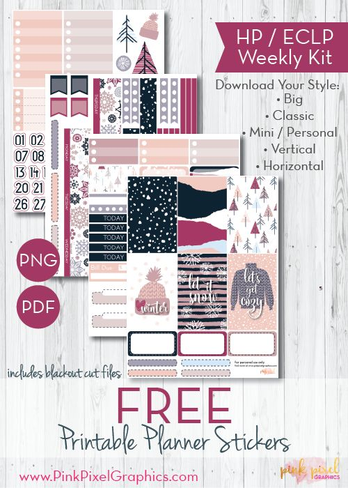 Free Printable Merry Mulberry Planner Stickers | Pink Pixel Graphics {subscription required}