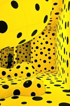 visual art installation by Yayoi Kusama - loved this installation when it was in Wellington - it really perks you up standing in a bright yellow polka dot room!