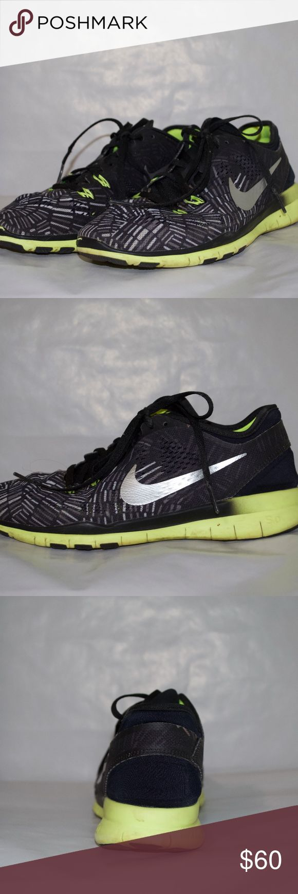 Nike Free Runs Nike Women's Free 5.0 Tr Fit 5 Prt Black/Metallic Silver/Volt Training Shoe. These shoes have been gently worn and will most definitely be cleaned up for whomever purchases them. I have most definitely worn them less than five times. These shoes will subtly stand out since they are black, but the design is very cool. I received these as a gift from my ex boyfriend, which is why I am giving them away (lol). They are perfect for the gym or running errands! Nike Shoes Sneakers