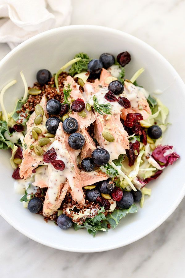 Superfood Salad with Blueberries. Clean healthy eating recipe for lunch. Top with tuna or chicken for variety.