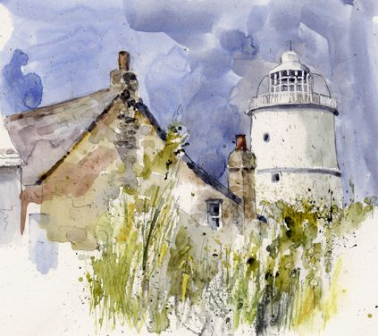 Lighthouse, St Agnes, Scilly. Watercolour, Kathy Lewis