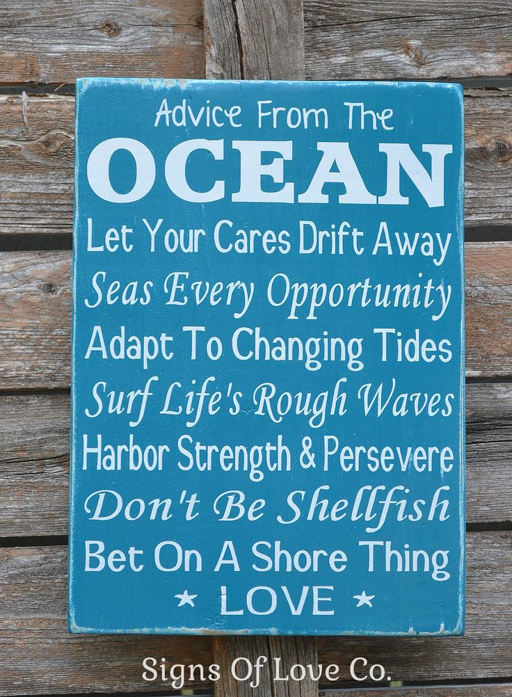 Advice From The Ocean Wood Sign Beach Decor