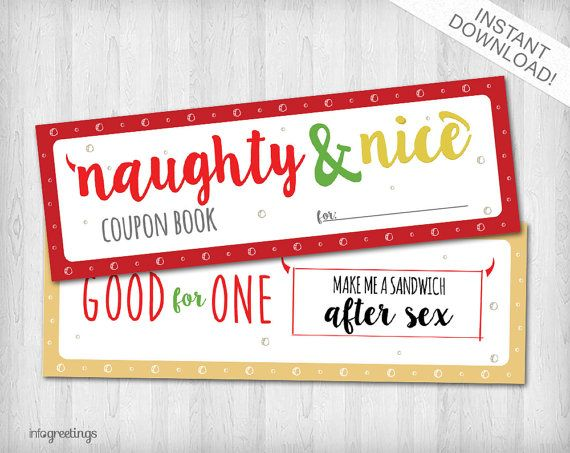 NAUGHTY and NICE Holiday Edition Coupons Special for boyfriend, husband, significant other – Instant