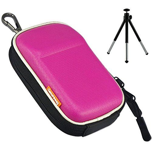 First2savvv BDX2002 pink premium quality hard camera case pouch bag for Nikon COOLPIX A A900 S9900S S9900 FUJIFILM X70 Canon PowerShot SX710 HS Caiso EX10ZR3600ZR3500ZR2000  mini tripod -- You can get more details by clicking on the image.