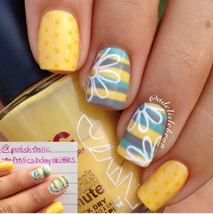 Yellow, Blue, And Grey With White Stencil Flowers