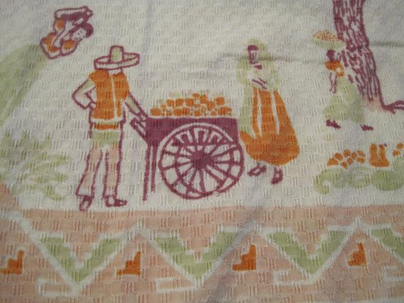 Vintage Mexican/Southwestern Tablecloth in Pink Peach by RuthHultz, $18.00