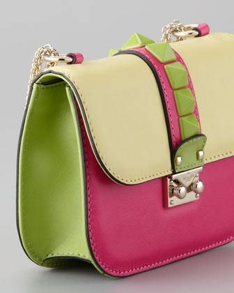 Glam Lock Colorblock Small Flap Bag, Soft Yellow/Pop Fuchsia - Neiman Marcus