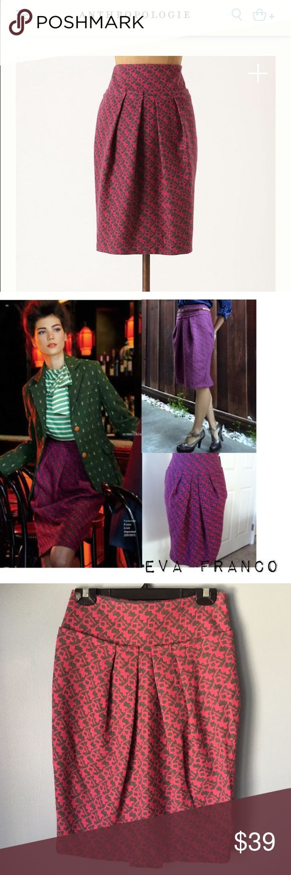 """Anthropologie Eva Franco """"Shirr and Pleat"""" Skirt So gorgeous and flattering! Color most accurate in stock photo - my lighting makes it look much lighter but it's a gorgeous deep magenta and grey. EEUC. Anthropologie Skirts Pencil"""