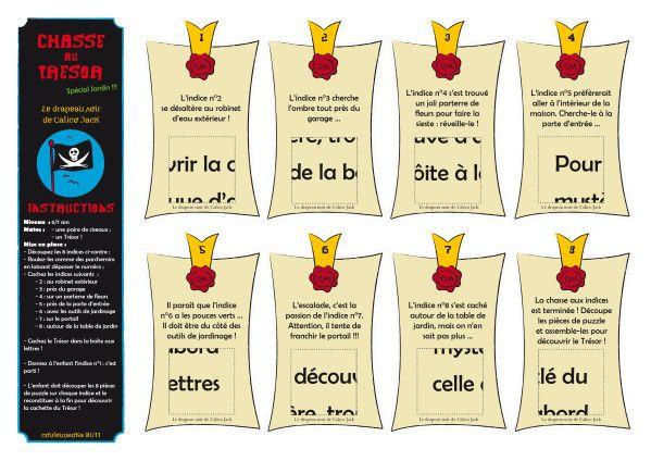 """Kit Chasse au trésor gratuite SPECIAL JARDIN """"Le drapeau Noir de Calico Jack"""" à imprimer et découper - Couleurmoka : chasses au trésor, bric..."""