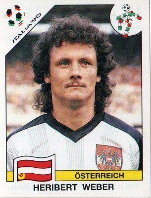 Heribert Weber of Austria. 1990 World Cup Finals card.
