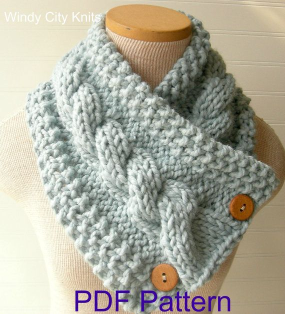 "@ Renee Messing...This is a pdf PATTERN for my Original design ""Knit Cabled Cowl Scarf"". Fun, chunky, stylish cowl scarf with 2 or 3 button closure. $5 #pattern #knitting #scarf"