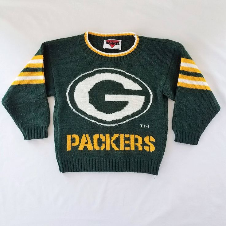 Vintage Green Bay Packers Sweater Kids Boys Girls Toddler Size 4 Old School Coach Knit Childrens Green Yellow Logo Intarsia Jumper by TraSheeWomen on Etsy #vintage #packers #greenbaypackers #sweater #jumper #boys #girls #toddler #vintagekids #vintagekidsclothes #vintagechildrensclothes