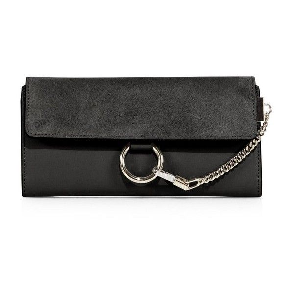 Chloé Mini Faye Leather & Suede Wallet (10,460 MXN) ❤ liked on Polyvore featuring bags, wallets, black, clutches, leather chain wallet, genuine leather wallet, leather mini bag, chloe wallet and chloe bag