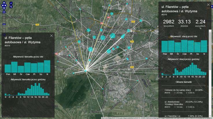 Mapa ze statystykami wypożyczeń Lubelskiego Roweru Miejskiego w 2015, kierunki, wykozystywanie, pory dnia i tygodnia