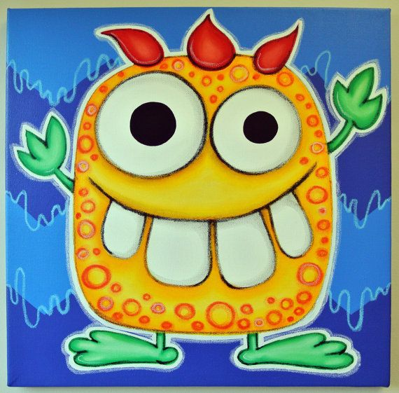 yELLOW mONSTER - 12x12 original painting on canvas, for nursery or kids room, monster art, cute monsters on Etsy, $50.00