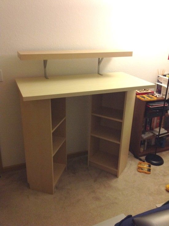 billy standing desk ikea hackers good idea with book storage just needs a