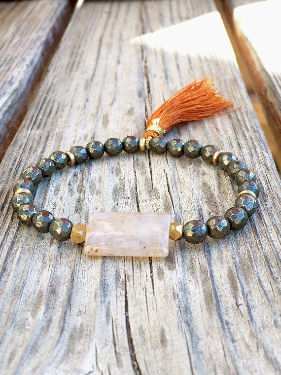 Pyrite / Opal Stone / Beaded Tassel Bracelet