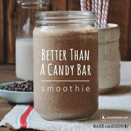 With coconut, cacao nibs and a scoop of almond butter, this #vegan smoothie from Bake and Destroy lives up to it's name! #smoothie #recipe