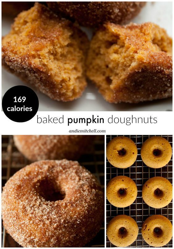 Warm and Spicy Baked Pumpkin Doughnuts Recipe! These moist doughnuts are a fun fall breakfast and who doesn't love a cinnamon sugar coating? Kid friendly and light too! 169 calories per doughnut, or 119 calories without the topping!