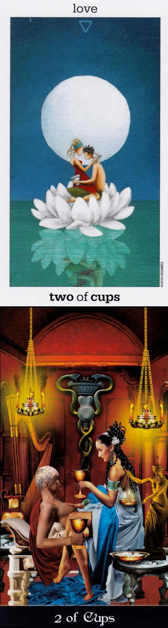 Two of Cups: intermingling and broken communication (reverse). Sunmoon Tarot deck and Apokalypsis Tarot deck: tarot jung, tarot angeles and lotus reading. Best 2018 tarot cards tattoo and psychic reading sign. #emperor #Wiccan #tarot #androidapp #ilovemywitchyways #ios