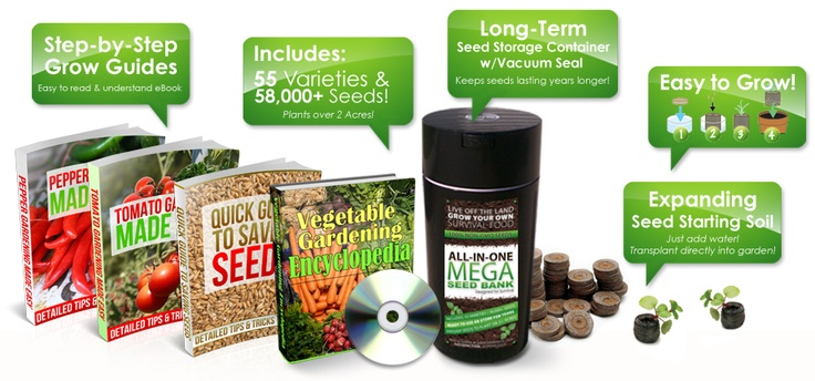 Survival Seed Bank - this is a good site for seeds.  This package includes wheat, some herbs, and fun things like pumpkins and artichokes but no corn, although it is sold separately.  They also have culinary or medicinal herb seed banks.