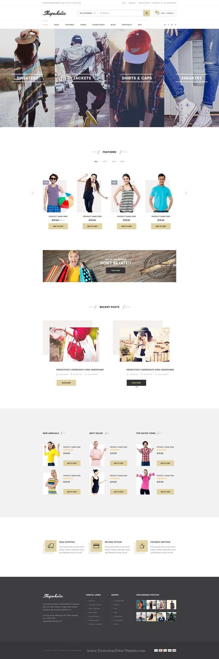 Shopaholic is a Professionally designed eCommerce PSD Template comes with 11 stunning homepage layouts.