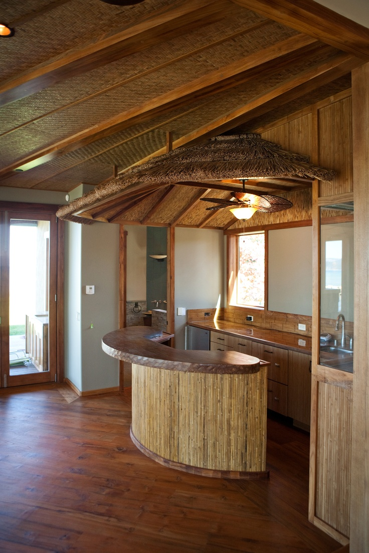 Tiki bar connected to the kitchen and the living room bamboo cabinets by bellmont lake tahoe - Bamboo bar design ideas ...
