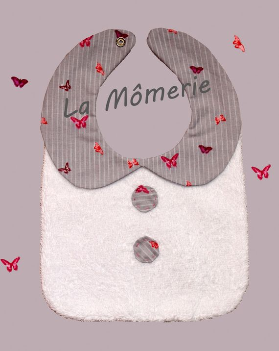 Bavoir bébé à col Claudine gris : Mode Bébé par la-momerie