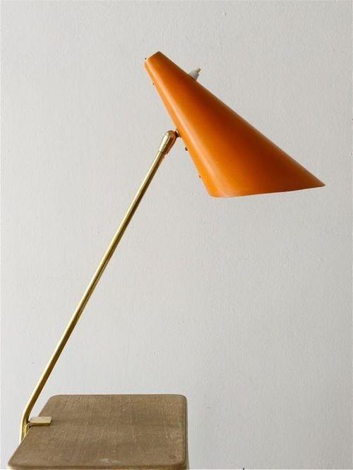 1950s Vintage Kalmar light lighting orange table lamp
