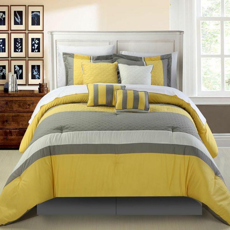 Diamante Yellow Queen 12 Piece Comforter Bed In A Bag Set