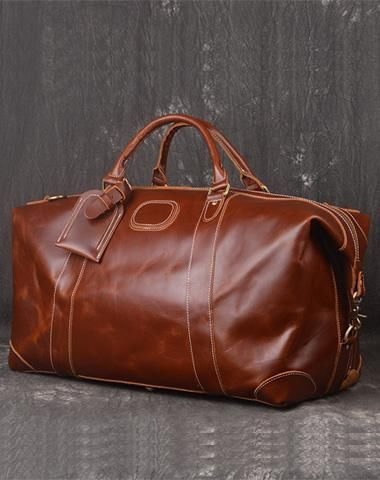 6ad49a122325 Leather Mens Weekender Bag Vintage Travel Bag Duffle Bag