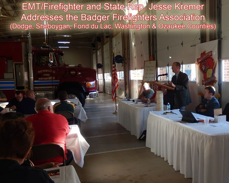 Firefighter/EMT/Representative Jesse Kremer had the opportunity to address the Badger Firefighters Association members during their annual fall meeting at Newburg Fire Department recently.  The topic?  Rural fire and EMS staffing (recruitment/retention) and training.  Jesse was one of a few legislators to actively push for a study committee in the state legislature this summer.