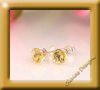 Sterlingsilber, Ohrstecker, Silber 925, Ohrringe 6mm Citrin  #armband #bracelets #ohrstecker #silver #earrings #saphir #sapphire #semipreciousstones #earstuds #schmuck