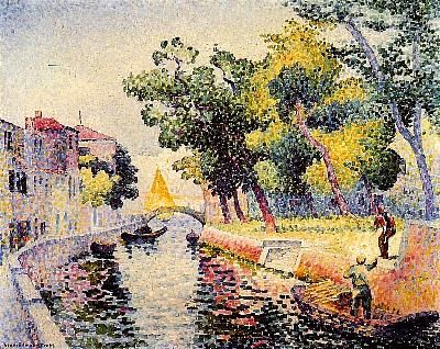Ponte San Trovaso 1902-1905  Henri-Edmond Cross.  This is the first painting I saw from M. Cross and I've been deeply in love with his style ever since.