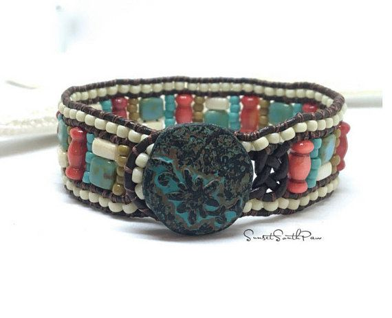 Beaded Leather Cuff Bracelet Southwestern Cuff Boho BY SUNSETSOUTHPAW #fashion #style #shopping #boho#beadedcuff #leatherbracelet #josephineknot #jewelry #etsy #sunsetsouthpaw #southwestern #cuff #etsyseller #handmade