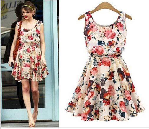Aliexpress.com'da Love to travel üzerinden Yüksek Kalitetede Elbiseler,kadın moda yeni kayısı kolsuz yuvarlak boyun çiçekler baskı pilili rahat yazlık elbise 2015 SAIAS femininas yaz giyim hakkında daha fazla Elbiseler bilgi elde edin.