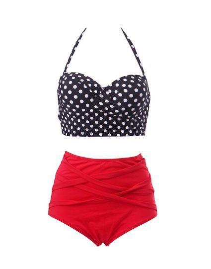 Vintage 50s Pinup Girl Rockabilly High Waist Retro Bikini Swimsuit Set