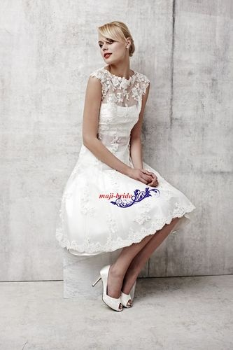 Hot Design Custom Round Neck Ivory White Knee Length Lace Wedding Dresses Short | eBay