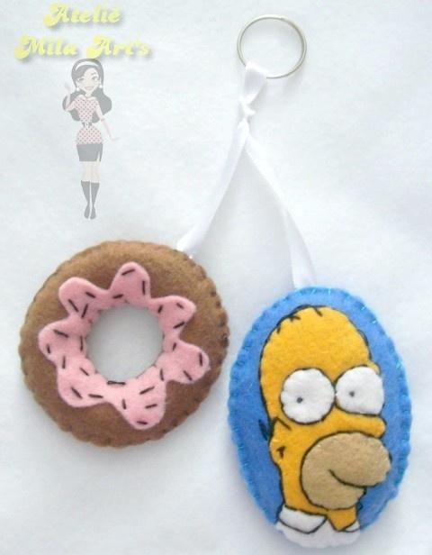Mila Arts - moldes e PAP: Chaveiro Homer Simpson de feltro com donut - MOLDE