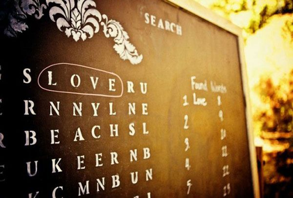 Great use of chalkboard.... Keep guests entertained by designing a word search. Great for weddings, birthdays, and anniversaries.