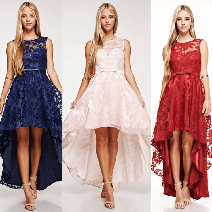 Beautiful Lace Hi Low Bridesmaid Dress featuring asymmetrical hemline, bow satin ribbon accenting the waist. Scoop neck illusion overlay over sweetheart bodice. Soft gathers around the waist for added