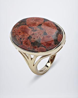 Flower Opal Goldring mit rot-braunem Flower Opal aus Mexiko! #terra #opalis #terraopalis #opal #schmuck #ring