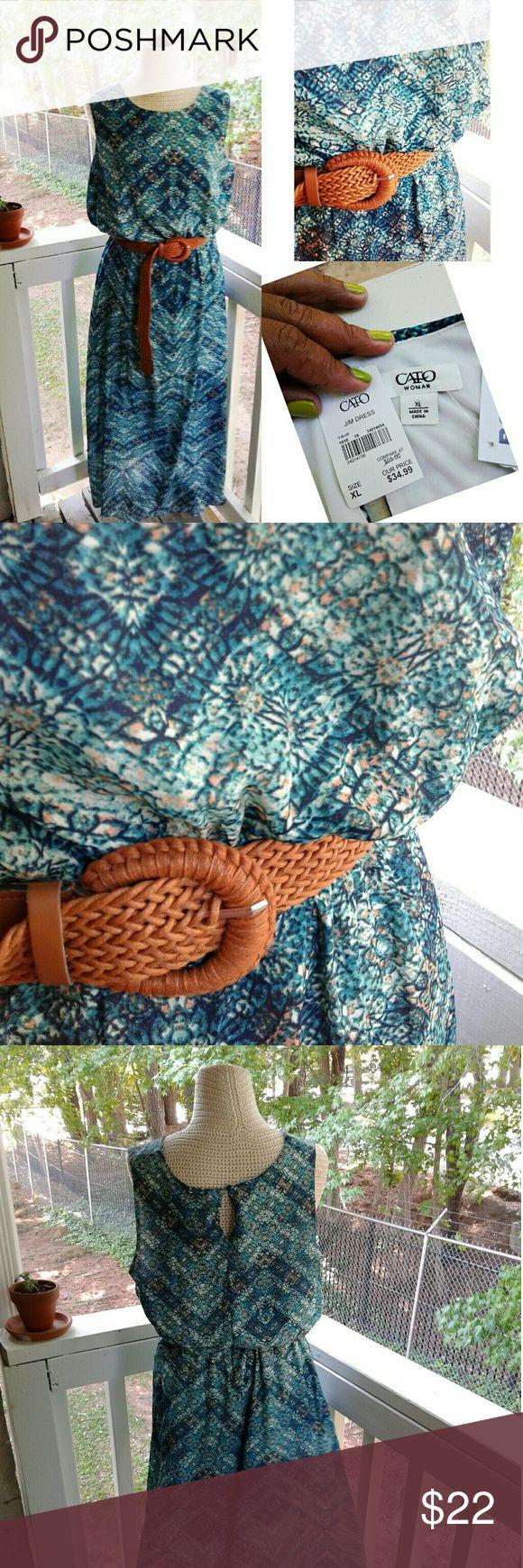 Aztec Print Maxi Dress w/belt Aztec Print Maxi Dress w/belt Cato Dresses Maxi