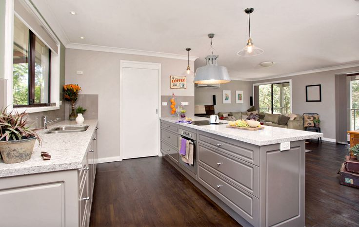 R P Design Studio Farmhouse remodel - floor, 2 tone kitchen cabinetry, butlers pantry, stone bench tops, lighting to reflect mining ancestry, colour scheme to carry outside acreage and park setting in through house.