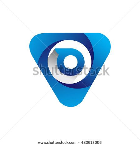 Logo letter O blue colored in the triangle shape, Vector design template…
