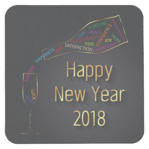 New Year 2018 Champagne Bottle Glass Paper Coaster
