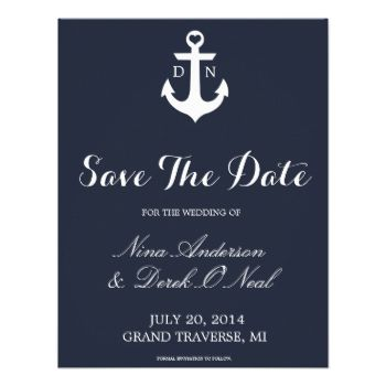 Nautical Save The Date. This nautical design is a great addition for your wedding theme. Easily customize this with your own image, initials, names, date and location. Visit our shop for more save the date designs and colors! #savethedate #save #date #weddings #wedding #nautical #anchor #monogram #sail #sea #preppy #stripes #pattern #invites #invitations #weddingideas #ideas #bride #brides #bridal #bridesmaid