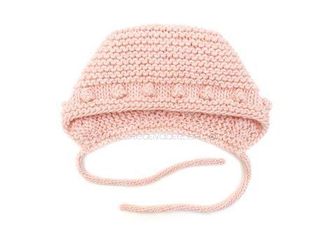 Capota de bebe de punto bobo de lana tejida a dos agujas - Patrón y tutorial DIY