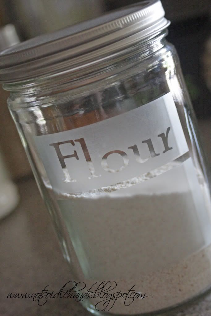 etching glass jars to use for dry food storage. cheaper than buying new containers!