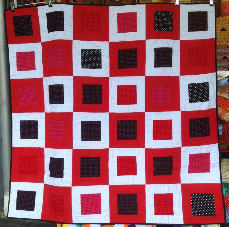Hidden Square – Bright Dots – Red – White Design – 50 x 50 Inches